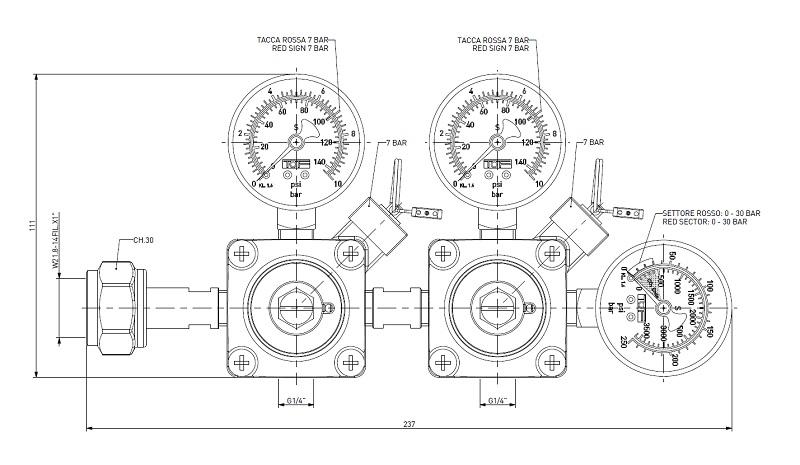 Bản vẽ kỹ thuật hệ đồng hồ khí CO2 TOF