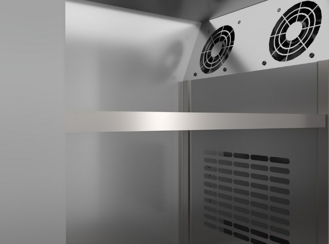 Quạt gió tăng tốc độ trao đổi nhiệt lạnh trong khoang tủ
