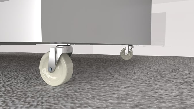 Chân bánh xe chịu lực, có trang bị phanh hãm cố định vị trí tủ chắc chắn