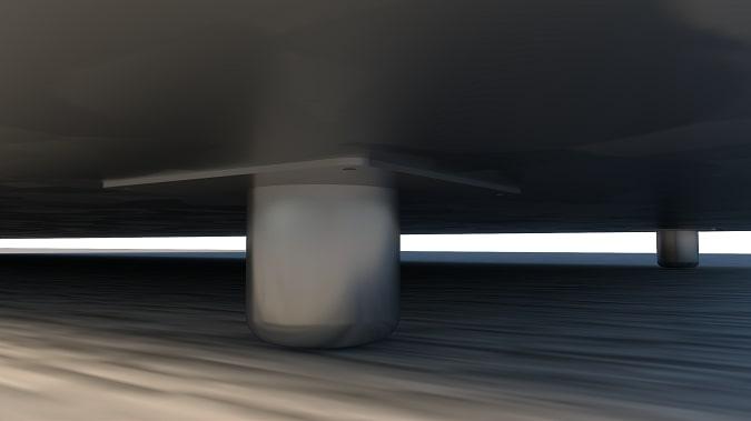 Chân inox dày 1mm cố định vị trí tủ bia chắc chắn, hỗ trợ tiếp địa