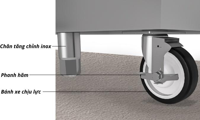 Chân bánh xe chịu lực kết hợp chân tăng chỉnh