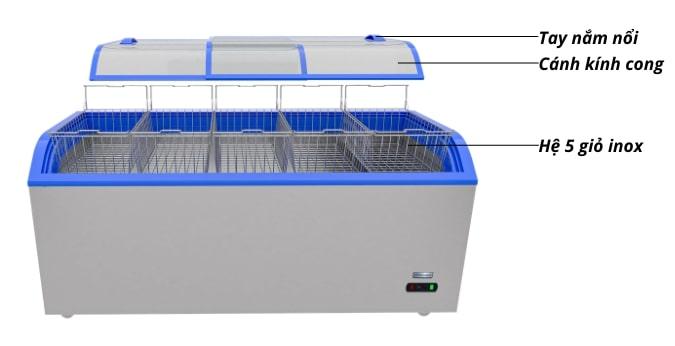 Hệ giỏ inox tối ưu sức chứa, tay nắm nổi dễ đóng mở cánh tủ