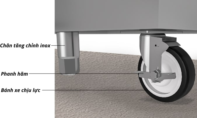 Chân bánh xe chịu lực kết hợp chân tăng chỉnh inox