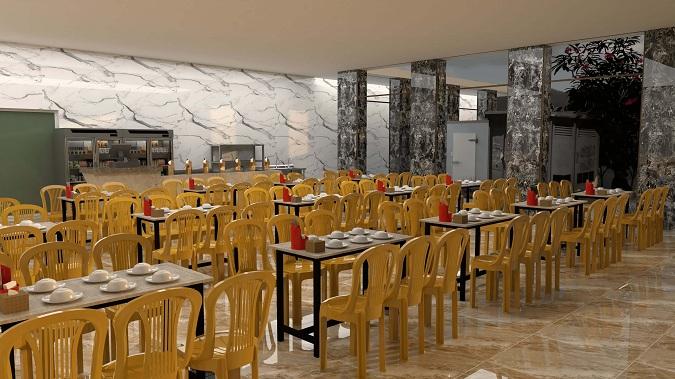 Hình ảnh phối cảnh 3D tổng quan nhà hàng