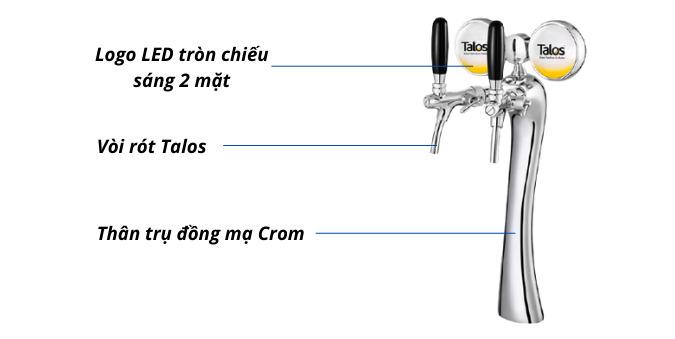Trụ bia trắng Talos 2 vòi 2 đèn LED chiếu sáng 2 mặt